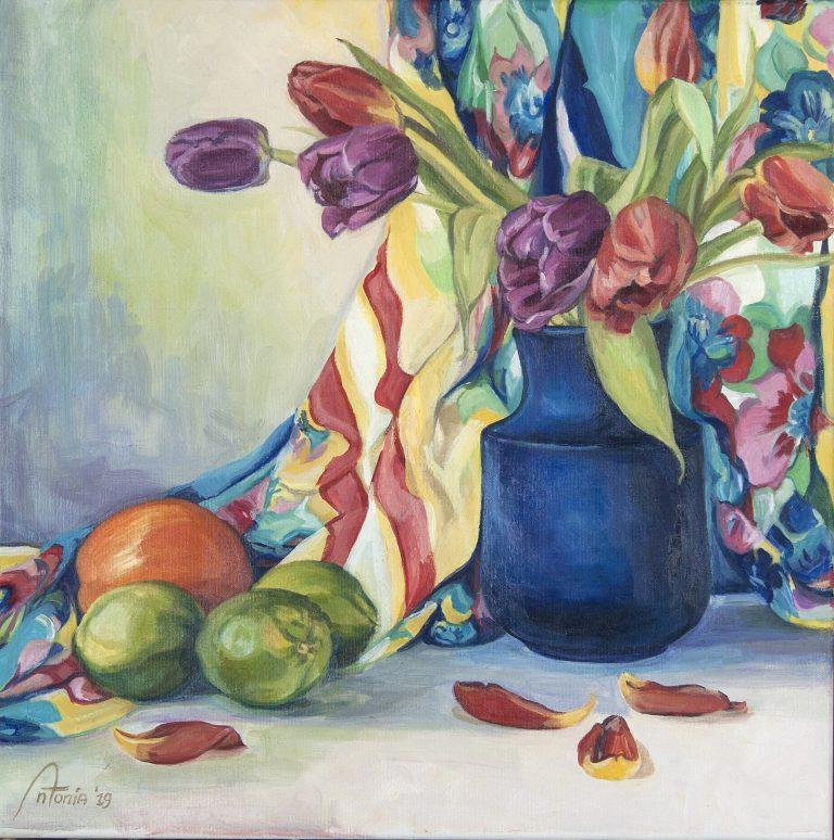 Blauwe vaas © Antonia hondenschilderen.nl